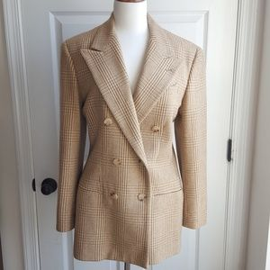 Ralph Lauren 6 Wool Plaid Double Breasted Blazer